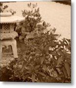 Sepia Japanese Garden Metal Print