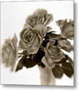 Sepia Roses Metal Print