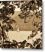 Sepia Sailboat Metal Print