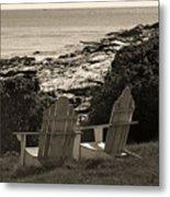 Sepia Seaside Retreat Metal Print