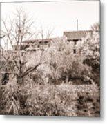 Sepia-toned Blooming Almond Trees Of Fikardou Village 1 Metal Print