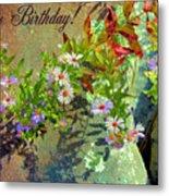 September Birthday Aster Metal Print