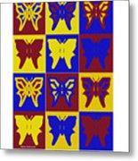 Serendipity Butterflies Brickgoldblue 1 Metal Print