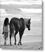 Serene Synchronicity In Black And White Metal Print
