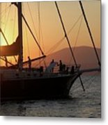 Set Sail On The Aegean At Sunset Metal Print