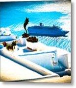Set Sail Santorini Metal Print