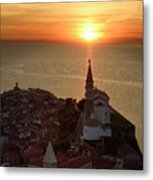 Setting Sun On The Adriatic Sea Behind Archangel Michael On Top  Metal Print