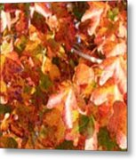 Seurat-like Fall Leaves Metal Print