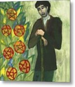 Seven Of Pentacles Illustrated Metal Print