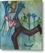 Seven Of Swords Illustrated Metal Print