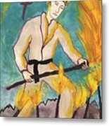Seven Of Wands Illustrated Metal Print
