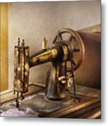 Sewing - A Black And White Sewing Machine  Metal Print
