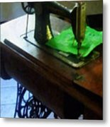 Sewing Machine With Green Cloth Metal Print