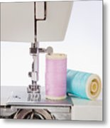 Sewing Threads In Pastel Colors And Detailed View Of A Sewing Machine Metal Print