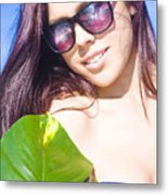 Sexy Beach Girl With Leaf Metal Print