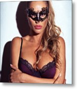 Sexy Glamorous Woman Wearing A Mask Metal Print