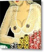 Sexy Poker Girl Metal Print