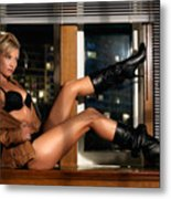Sexy Woman In Lingerie Sitting On A Window Sill Metal Print