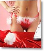 Sexy Woman Preparing For Christmas Holidays Metal Print