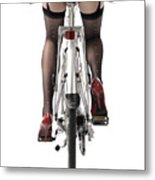 Sexy Woman Riding A Bike Metal Print by Oleksiy Maksymenko