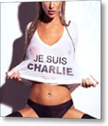 Sexy Young Woman In Wet Je Suis Charlie Shirt Charlie Riina Metal Print