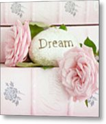 Shabby Chic Cottage Pink Roses On Pink Books - Romantic Inspirational Dream Roses  Metal Print