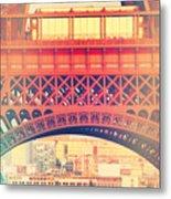 Shabby Chic Eiffel Tower Paris Metal Print