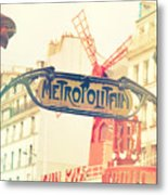 Shabby Chic Moulin Rouge Metro Sign Paris Metal Print