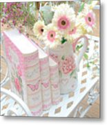 Shabby Chic Pink And Yellow Gerber Daisies Floral Art - Spring Cottage Daisies Floral Art Metal Print