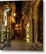 Shabby Chic - Small Street Night Walk In Syracuse Sicily Metal Print