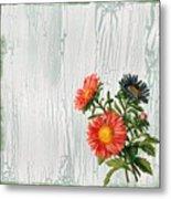 Shabby Chic Wildflowers On Wood Metal Print