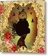 Shabby Fae Silhouette  Golden Metal Print