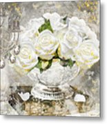 Shabby White Roses With Gold Glitter Metal Print