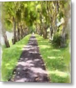 Shaded Walkway To Princeville Market Metal Print