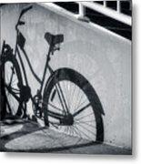 Shadow Of A Bike At Carolina Beach Metal Print