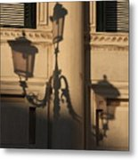Shadow Of A Lamp Post In Venice Metal Print