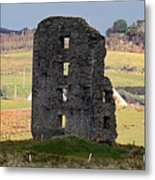 Shadow On Remaining Medieval Castle Wall Metal Print