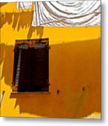 Shadow Yellow Wall Metal Print