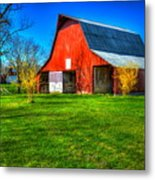 Shadows On The Barn Tennessee Farm Art Metal Print