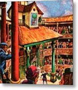 Shakespeare Performing At The Globe Theater Metal Print