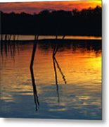 Shallow Water Sunset Metal Print