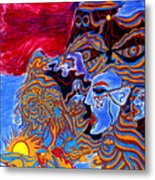 Shaman Of The Red Sky Metal Print