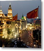 Shanghai Bund At Night Metal Print