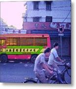 Shanghai Pink Bus Metal Print