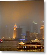Shanghai Skyline At Night Metal Print by James Dricker