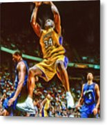 Shaquille O'neal Los Angeles Lakers Oil Art Metal Print