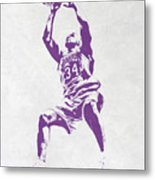 Shaquille O'neal Los Angeles Lakers Pixel Art Metal Print