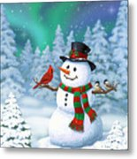 Sharing The Wonder - Christmas Snowman And Birds Metal Print