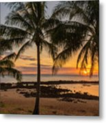 Sharks Cove Sunset 4 - Oahu Hawaii Metal Print