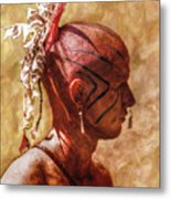 Shawnee Indian Warrior Portrait Metal Print by Randy Steele